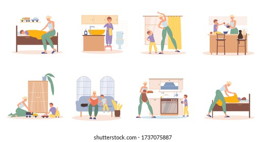 Mother preschool son daily activities scene set. Everyday mom wake-up, training, reading story, cooking, get to bed boy. Child sleep, having hygiene procedure, eating breakfast dinner, playing toy car