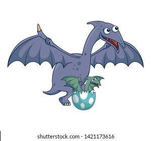 mother Pterodactyl with baby breaking the shell egg