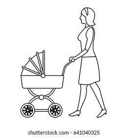 mother pushing pink baby carriage outline