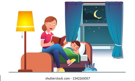 Mother reading bedtime story book to son kid lying in bed at window with night stars view & moon. Mom preparing child for sleep.  Parent telling fairy tale. Flat vector isolated illustration