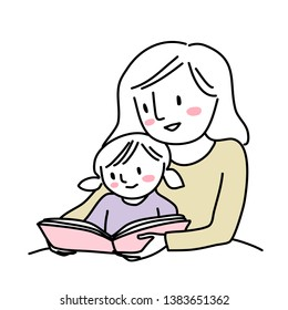 Mother reading bedtime story with little child. Woman reading a storybook to her daughter. Little girl reading a storybook together with her mom. Mother spending happy family time with her child.