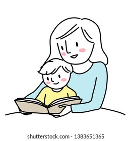 Mother reading bedtime story with little child. Woman reading a storybook to her son. Little boy reading a storybook together with his mom. Mother spending happy family time with her child.