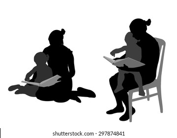 mother reading book to child silhouettes
