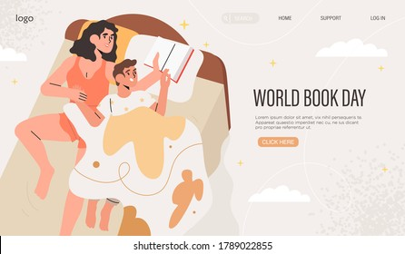 Mother reading book to her child before going to bed. Mom and son reading fairytale together in bed. World book or reading day, world literacy day celebration banner, web page, social media post.