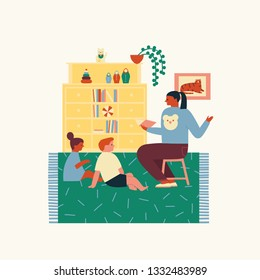 Mother reading book telling story to kids spending time at home, child girl and boy enjoying listening to fairy tale sitting on the floor, family activity illustration in vector.