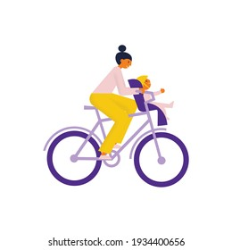 Mother rides bike with her child who sits in child sit infront of her on a  handlebar. Flat vector illustration