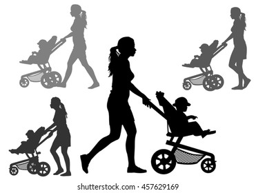 Mother rolls the baby in the stroller for a walk. Silhouette on a white background