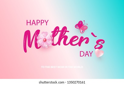 Mother s Day card with beautiful blooming flowers on a gentle gradient background in pastel colors. Happy mother s day. Holiday Sale. Vector illustration