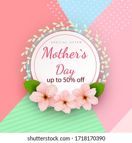 Mother s day card with beautiful blooming flowers on a gentle geometric background in pastel colors. Happy mother s day. Holiday sale. Vector illustration