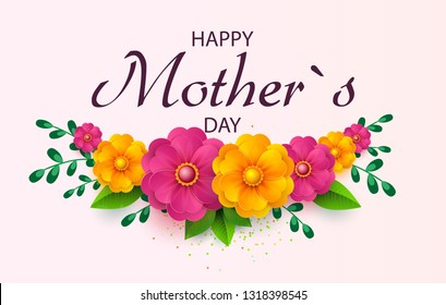 Mother s day greeting card with beautiful blossom flowers. Happy Mother s Day.