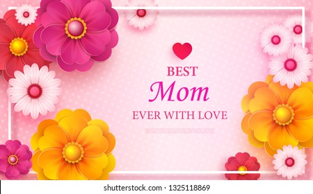 Mother s Day greeting card with square frame and paper cut flowers on colorful modern geometric background. Vector illustration. Place for your text.