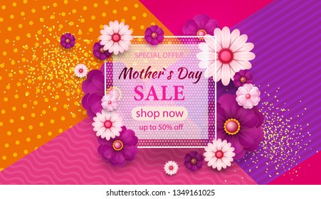 Mother s Day greeting card with square frame and paper cut flowers on colorful modern geometric background. Spring sale s banner. Vector illustration. Place for your text.