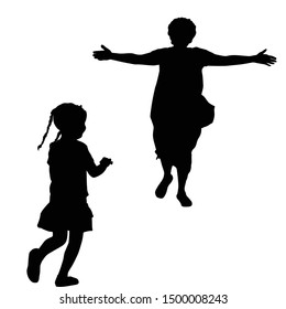 Mother silhouette with open arms running to a little girl on white background, vector illustration