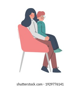 Mother Sitting at Armchair with Son in her Lap Cartoon Vector Illustration on White Background