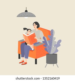 Mother sitting in a chair and reading a book to her little daughter. Illustration in cartoon style