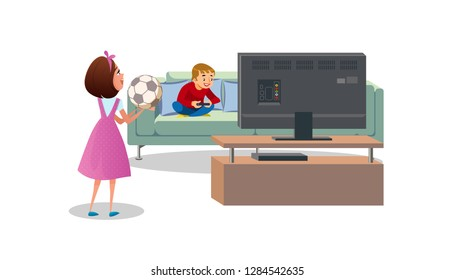 Mother with Soccer Ball in Hands, Asking Playing Video Games Son, Go Outside to Play Football Cartoon Vector Illustration Isolated on White Background. Child Video Games Addiction, Sedentary Lifestyle