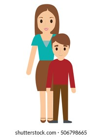 Mother and son cartoon icon. Family relationship avatar and generation theme. Colorful design. Vector illustration