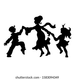 mother with son and daughter dance, black silhouettes on a white isolated background