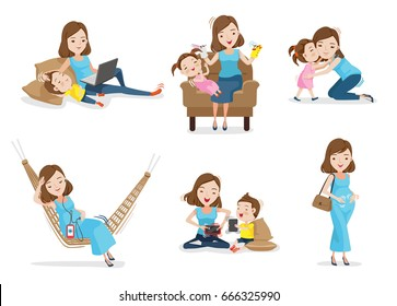 Mother and son or daughter Have fun together with mother, Woman gave birth and pregnancy. Concept of motherhood Vector illustrations