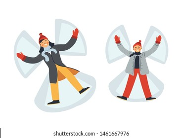 Mother and son lying on snow making angel isolated vector characters woman and boy in mittens and winter clothes outdoor activity pastime and, leisure having fun on nature leaving angelic silhouette