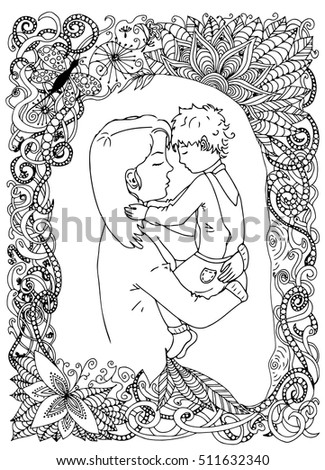 Mother Son Photo Frame Floral Frame Stock Vector Royalty Free
