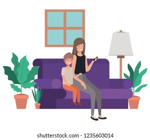 mother and son sitting in couch avatar character