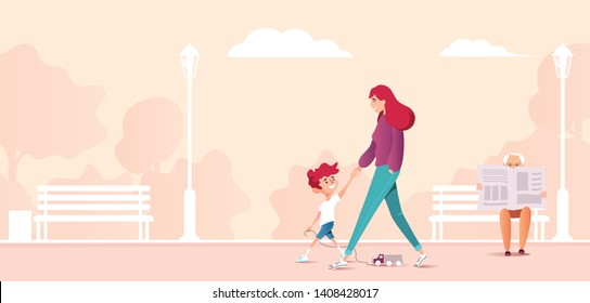 Mother and son walking together in city park. Cartoon vector illustration