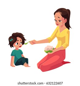 Mother spoon feeding her little daughter sitting on the floor, cartoon vector illustration isolated on white background. Mother, mom holding bowl of porridge, feeding her daughter sitting on the floor
