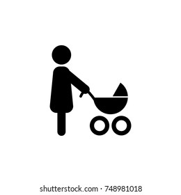 mother with stroller icon in a simple style icon. Simple black family icon. Can be used as web element, family design icon on white background