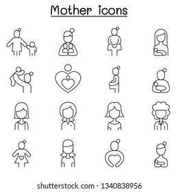 Mother & Super mom icon set in thin line style
