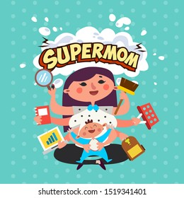a mother is a supermom, babysitting and do many house work. multitasking mother babysitting, cooking, cleaning the house, work from home mom, make up vector illustration
