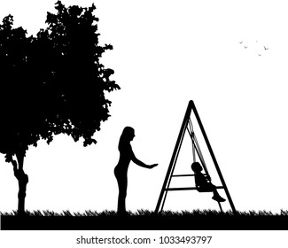 Mother swinging child on a swing in the park, one in the series of similar images silhouette