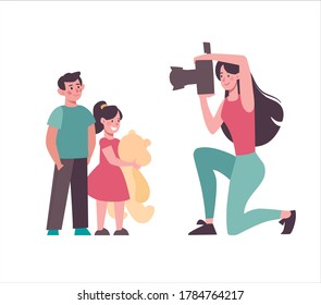 A mother takes pictures of her children. A woman photographs children on a camera with a flash, sister and brother pose for a photo. Cartoon characters. Vector, flat style isolated on white background