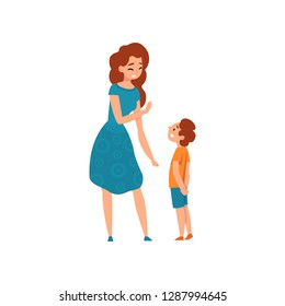 Mother talking with her son, mom having a good time with her kid, motherhood, parenting concept vector Illustration