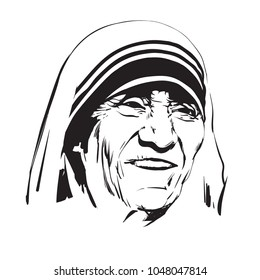 Mother Teresa.  Saint Teresa of Calcutta. Hand drawn vector portrait.