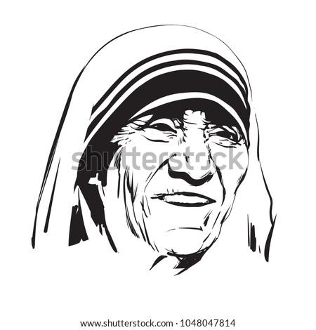 Mother Teresa Saint Teresa Calcutta Hand Stock Vector Royalty Free