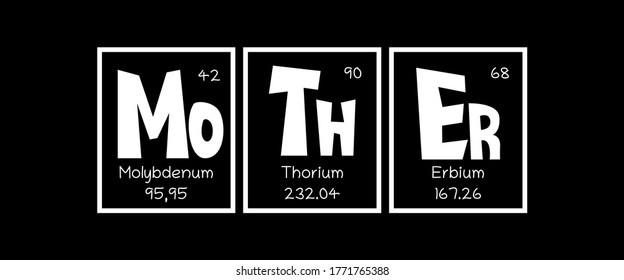 Mother Text as Periodic Table of Mendeleev Elements for printing on t-shirt, mug, any gift, for Mother's day or birthday of Mom, trendy concept for june holiday, pattern for gift, family look print