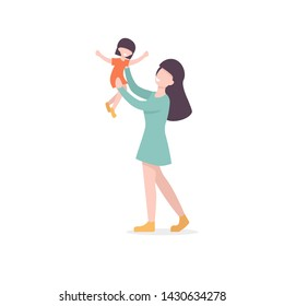 Mother throwing his daughter. Woman throws little girl up and catching her. Parent playing with kid. Flat vector illustration.