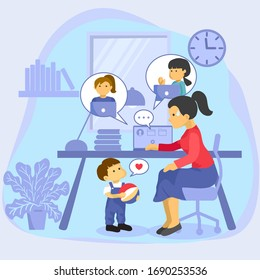 Mother trying to work from home at laptop computer online meeting while her son wants to play with her. Flat vector.