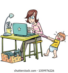 mother trying to work on a computer