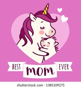 Mother unicorn giving a hug to her baby simple doodle cartoon vector character illustration isolated on white. Happy Mother's day holiday, best mom ever, love, happy family, greeting card design