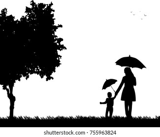 Mother walking under the umbrellas with her child in park, one in the series of similar images silhouette