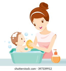 Mother Washing Baby, Bathing, Mother's Day