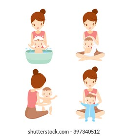 Mother Washing Baby Set, Bathing, Cleaning, Mother's Day