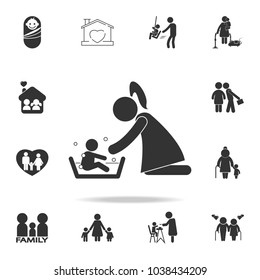 Mother washing her child 's with love illustration. Detailed set of family icons. Premium quality graphic design. One of the collection icons for websites, web designfamily on white background