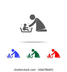 Mother washing her child 's with love illustration icon. Elements of family multi colored icons. Premium quality graphic design icon on white background