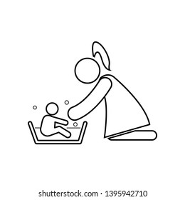 Mother washing her child 's with love icon. Element of family for mobile concept and web apps icon. Outline, thin line icon for website design and development, app development