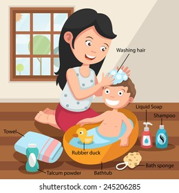 Mother washing her child 's hair with love illustration, vector with vocabulary