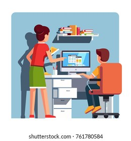 Mother watching over shoulder son kid doing homework on desktop computer sitting at office desk. Mother or tutor helping school student boy. Flat cartoon vector isolated illustration.