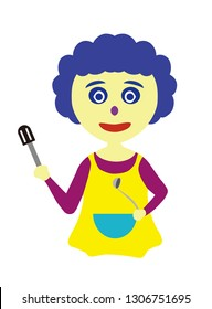 Mother wearing apron, holding spatula and spoon